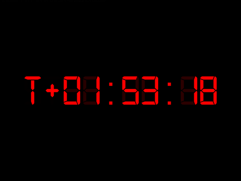 The countdown, showing a positive time.