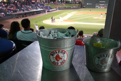Red Sox branded bucket.