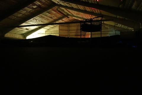 The tennis court we slept in, at dawn