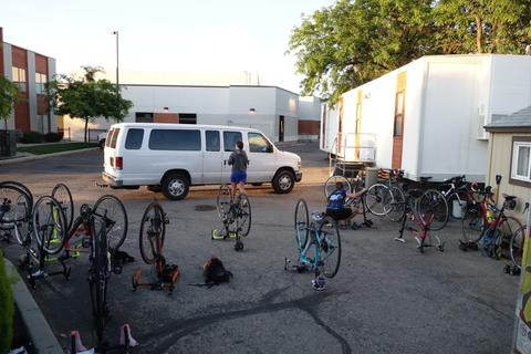 Getting the bikes ready in the morning