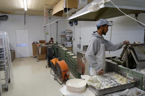 Tortilla assembly line.