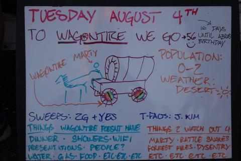 The morning's whiteboard