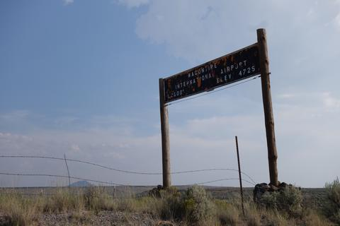 """Wagontire International Airport"" sign"