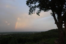 A rainbow over Van Buren.