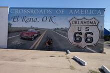 Route 66 mural in El Reno.