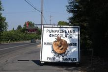 Pumpkinland chocolate sign.