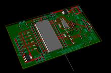 Older revision of PCB, 3D