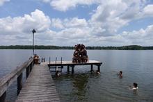 Human pyramid on the dock
